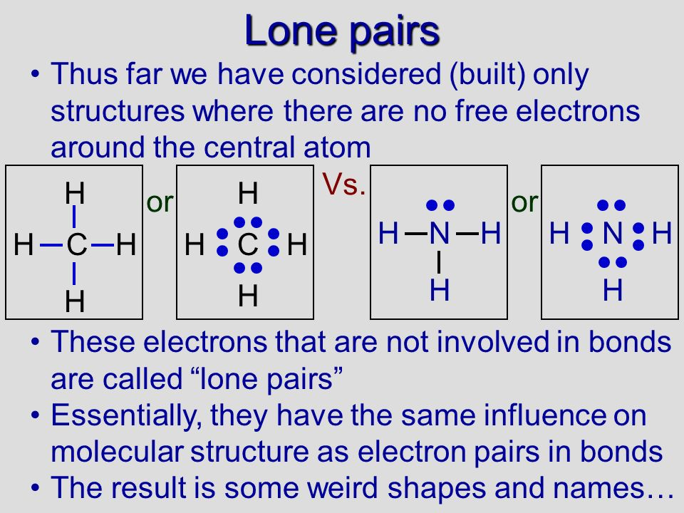 Lone pairs Thus far we have considered (built) only structures where there are no free electrons around the central atom.