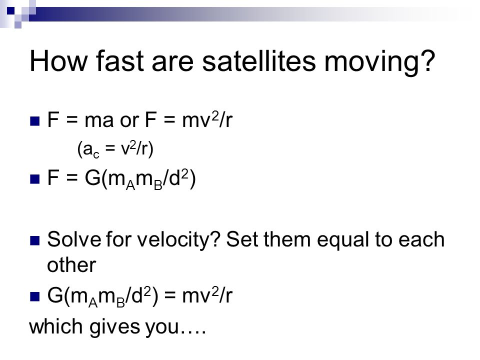 How fast are satellites moving