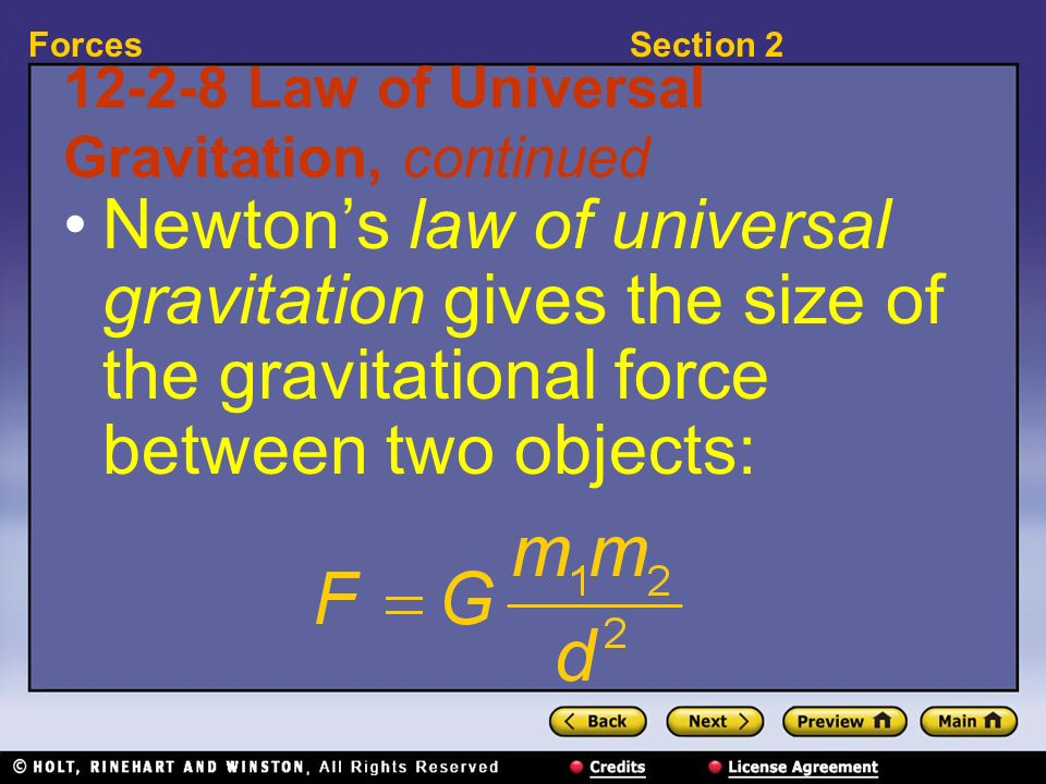 Law of Universal Gravitation, continued