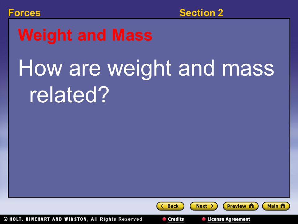 How are weight and mass related