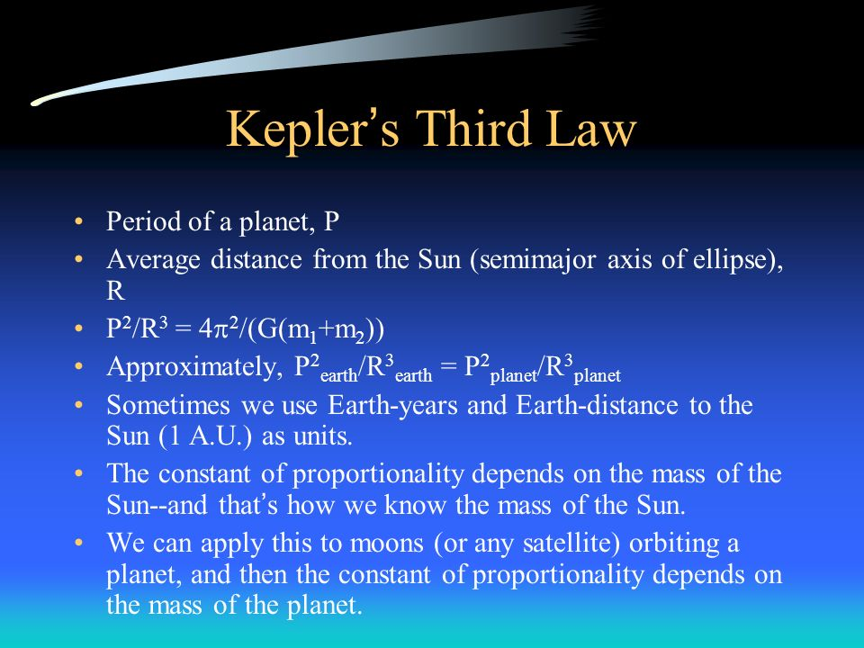 Kepler's Third Law Period of a planet, P