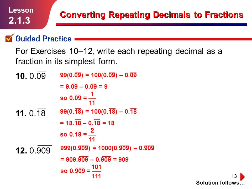 Converting Repeating Decimals To Fractions Guided Practice