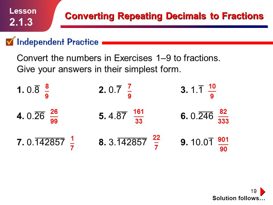 Converting Repeating Decimals to Fractions - ppt video ...