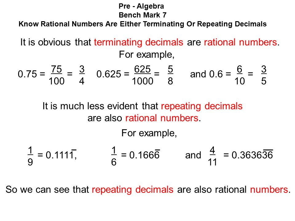 Know Rational Numbers Are Either Terminating Or Repeating Decimals