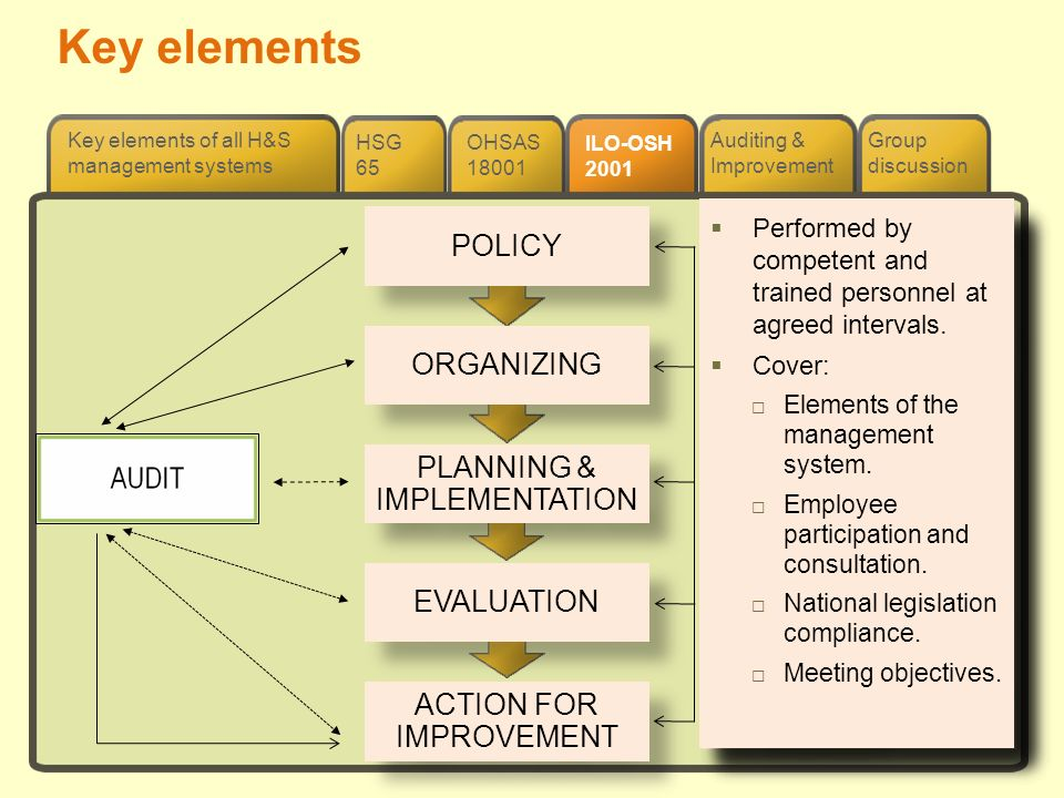 Key elements POLICY POLICY ORGANIZING PLANNING & IMPLEMENTATION