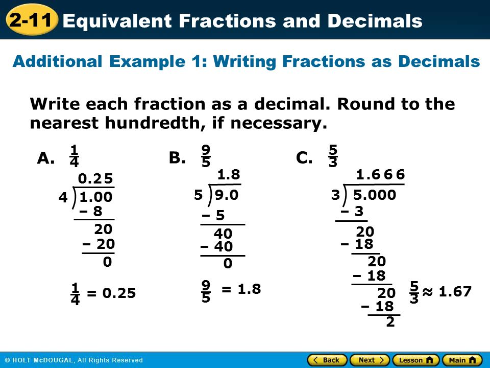 Additional Example 1 Writing Fractions As Decimals