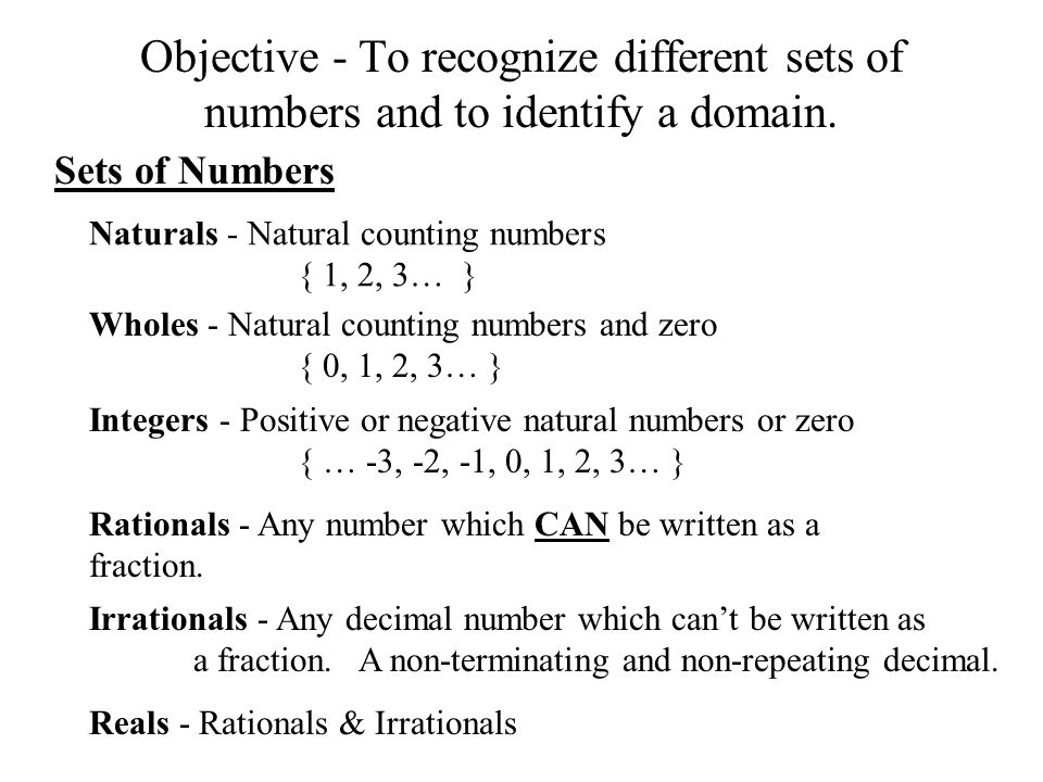 Objective - To recognize different sets of numbers and to identify a domain.