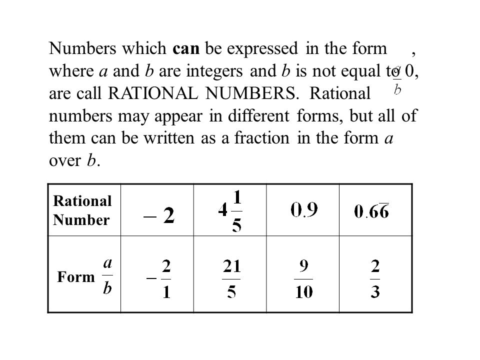 Numbers which can be expressed in the form , where a and b are integers and b is not equal to 0, are call RATIONAL NUMBERS. Rational numbers may appear in different forms, but all of them can be written as a fraction in the form a over b.