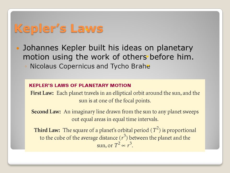 Kepler's Laws Johannes Kepler built his ideas on planetary motion using the work of others before him.