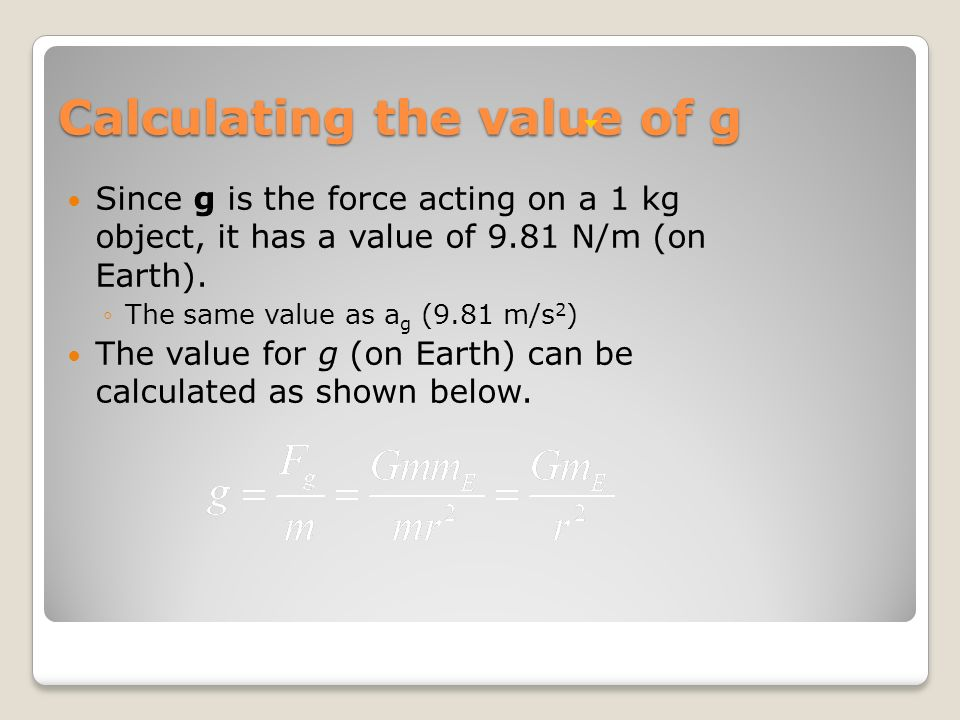Calculating the value of g