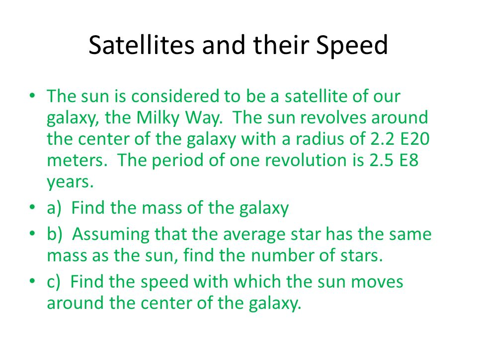 Satellites and their Speed
