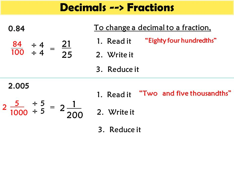 Fractions --> Decimals - ppt video online download
