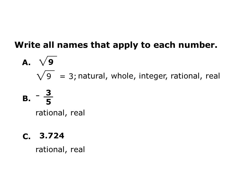 Write all names that apply to each number.