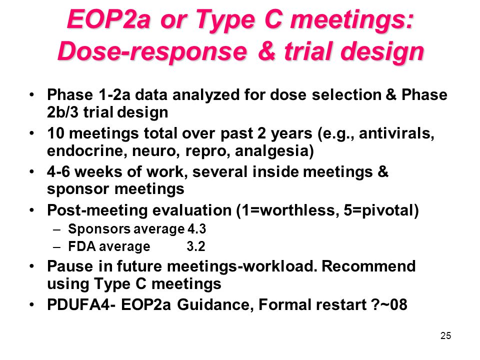 EOP2a or Type C meetings: Dose-response & trial design