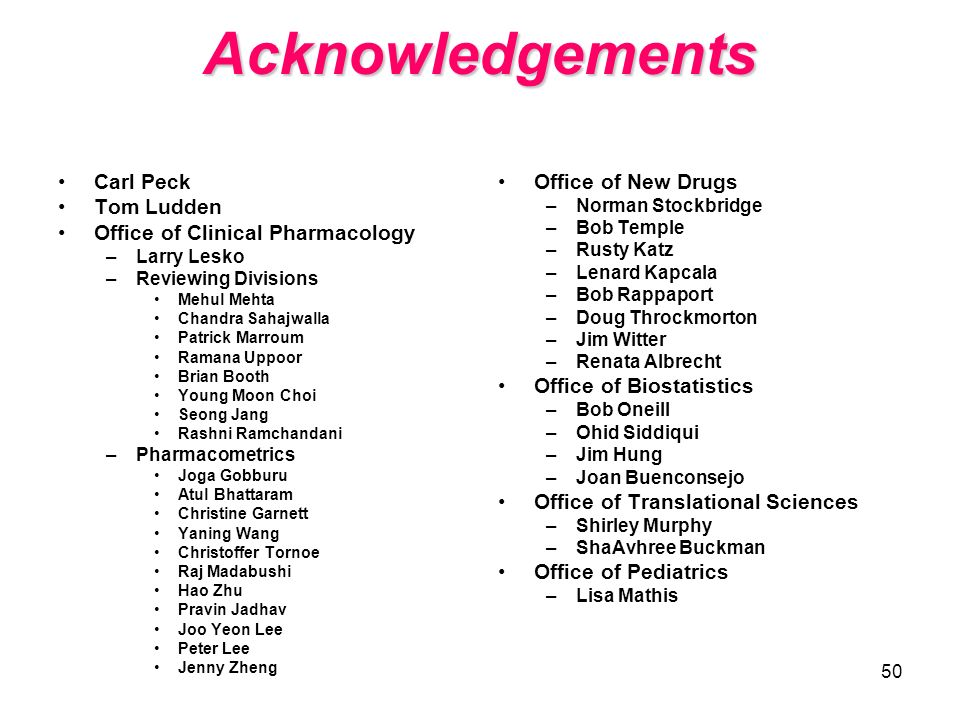 Acknowledgements Carl Peck Tom Ludden Office of Clinical Pharmacology