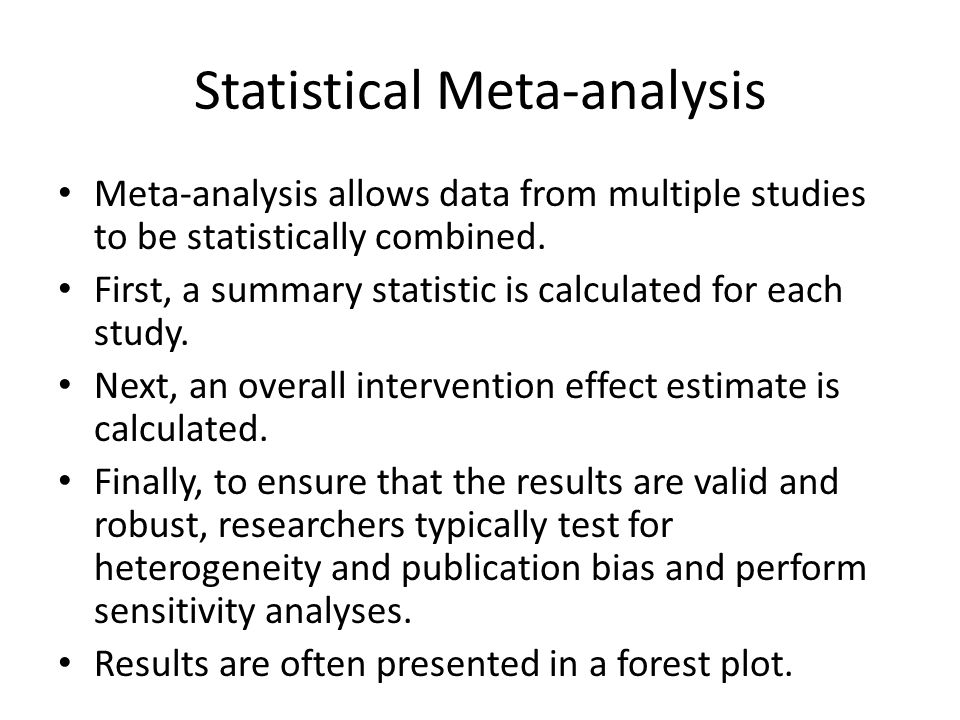 Statistical Meta-analysis