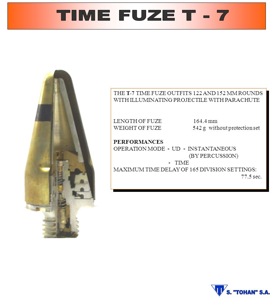TIME FUZE T - 7 THE T-7 TIME FUZE OUTFITS 122 AND 152 MM ROUNDS WITH ILLUMINATING PROJECTILE WITH PARACHUTE.