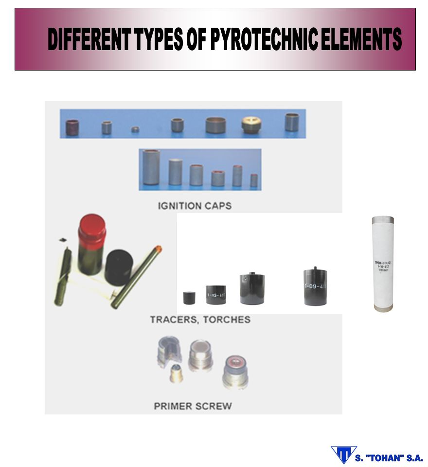 DIFFERENT TYPES OF PYROTECHNIC ELEMENTS