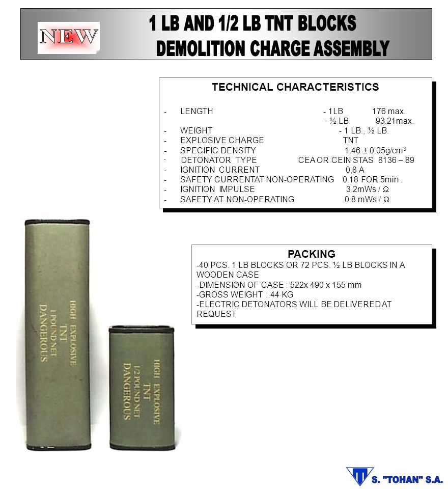 DEMOLITION CHARGE ASSEMBLY TECHNICAL CHARACTERISTICS