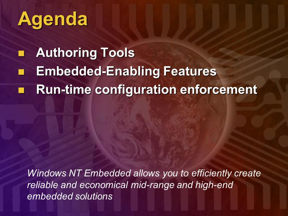 Agenda Authoring Tools Embedded-Enabling Features