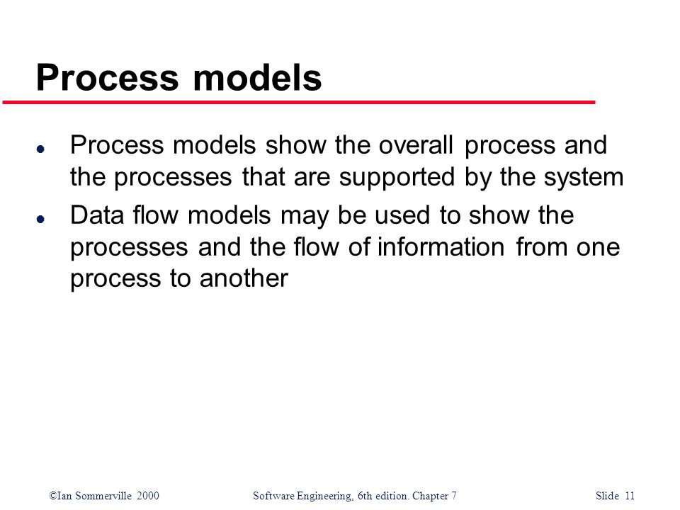 Process models Process models show the overall process and the processes that are supported by the system.