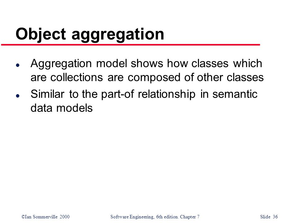 Object aggregation Aggregation model shows how classes which are collections are composed of other classes.