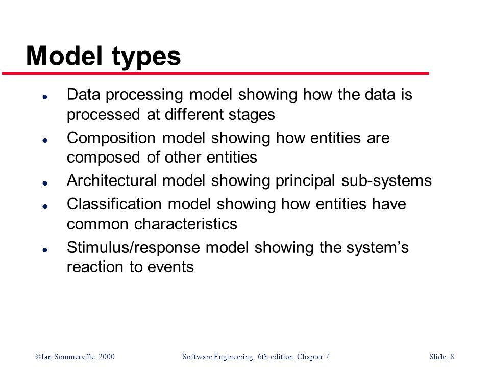 Model types Data processing model showing how the data is processed at different stages.