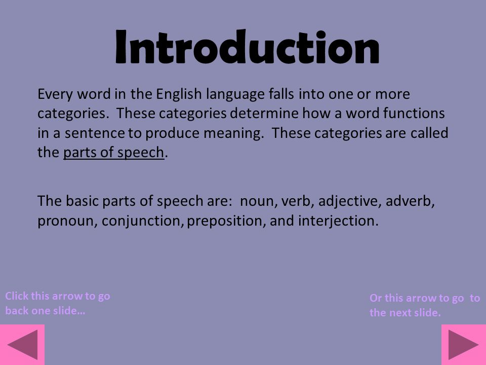 Introducing Parts Of Speech Ppt Video Online Download