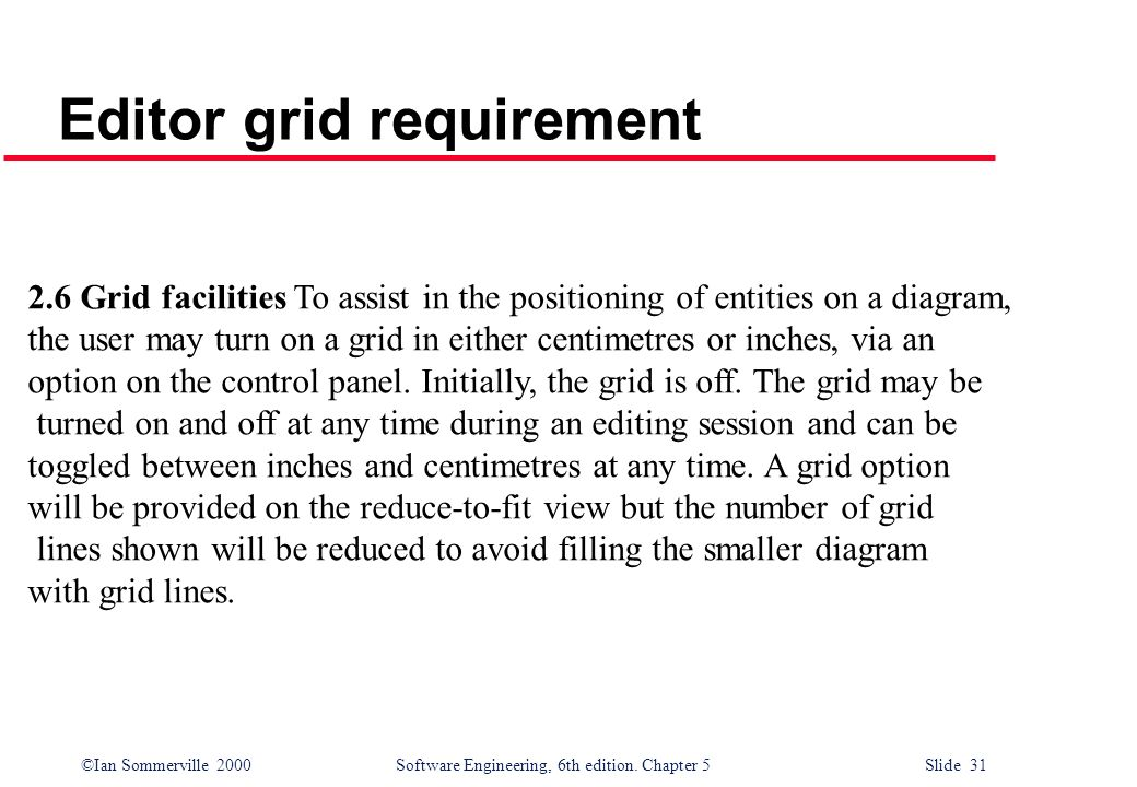 Editor grid requirement