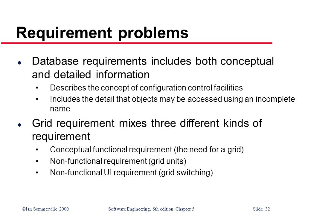 Requirement problems Database requirements includes both conceptual and detailed information.
