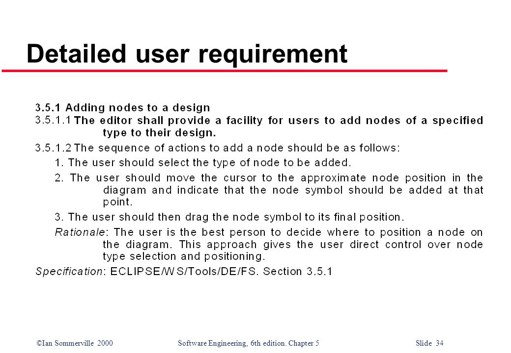 Detailed user requirement
