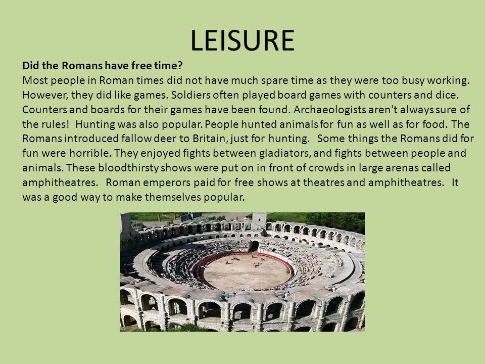 what did the romans do in their free time