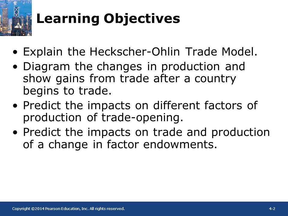 Learning Objectives Explain the Heckscher-Ohlin Trade Model.