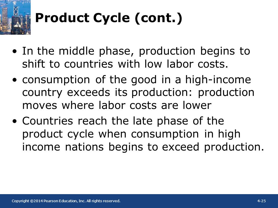Product Cycle (cont.) In the middle phase, production begins to shift to countries with low labor costs.