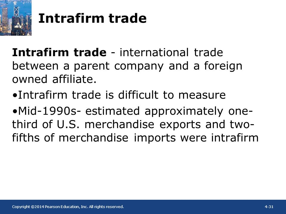 Intrafirm trade Intrafirm trade - international trade between a parent company and a foreign owned affiliate.