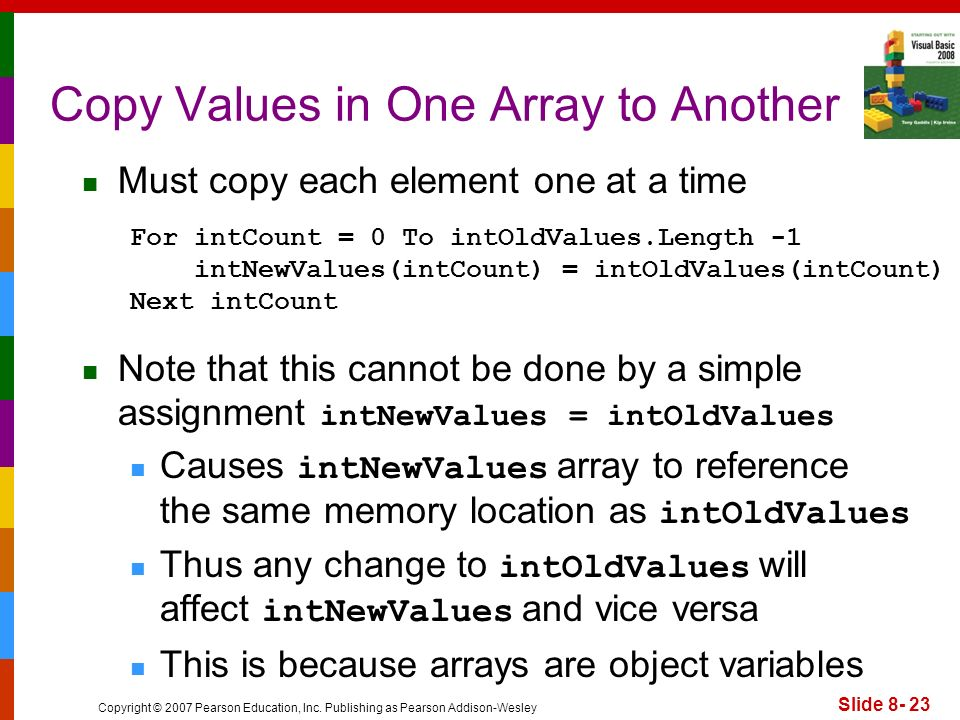 Copy Values in One Array to Another