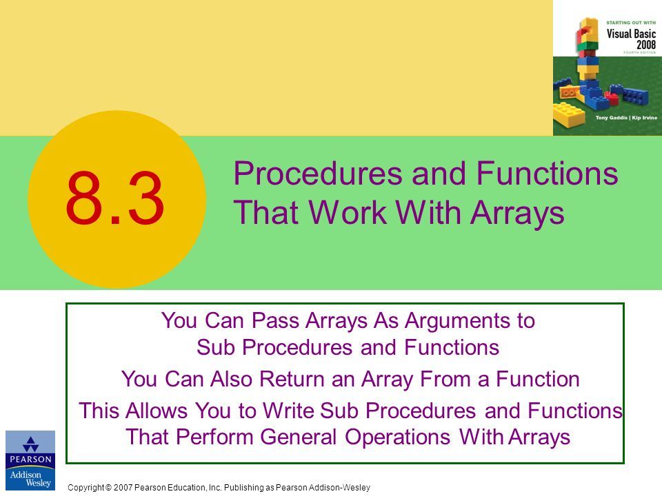 Procedures and Functions That Work With Arrays