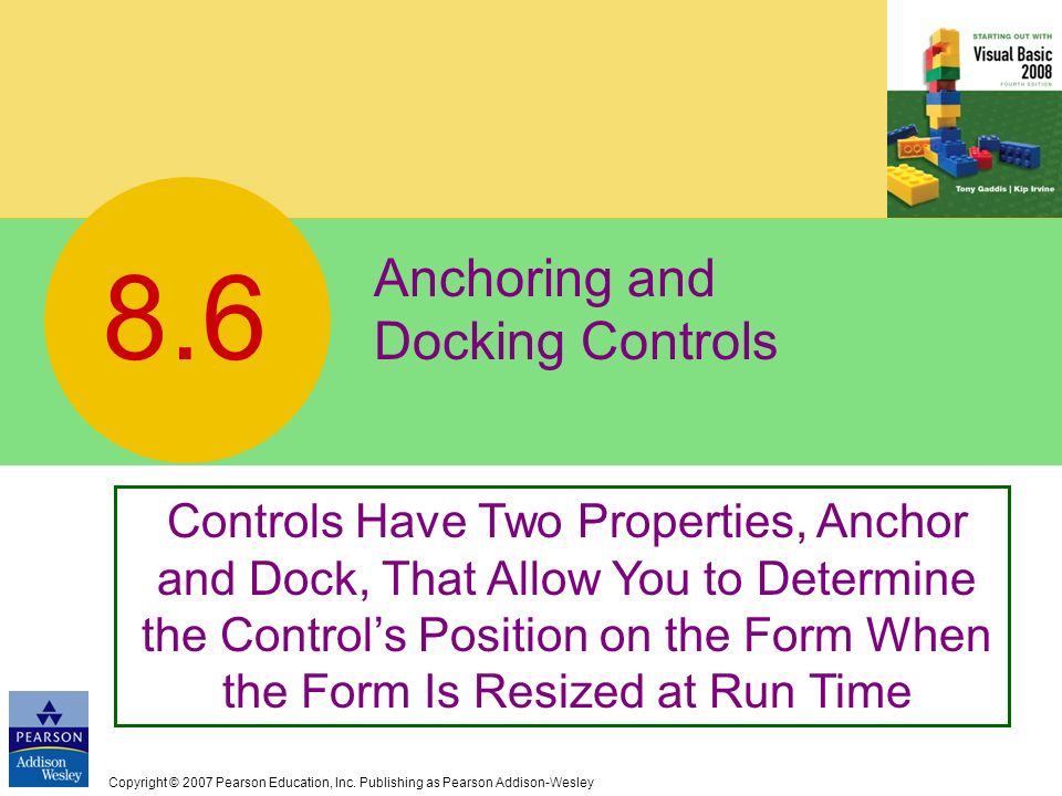 Anchoring and Docking Controls