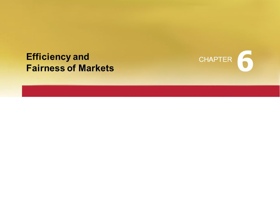 6 Efficiency and Fairness of Markets CHAPTER