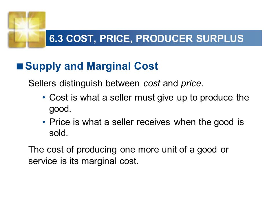 6.3 COST, PRICE, PRODUCER SURPLUS