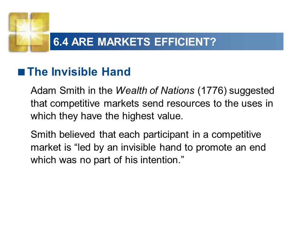 The Invisible Hand 6.4 ARE MARKETS EFFICIENT