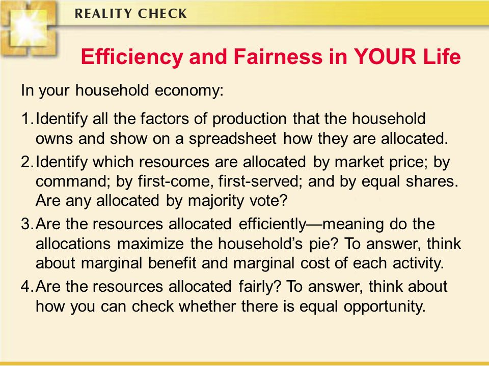 Efficiency and Fairness in YOUR Life