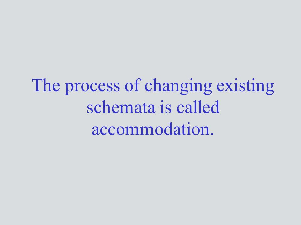 The process of changing existing schemata is called accommodation.