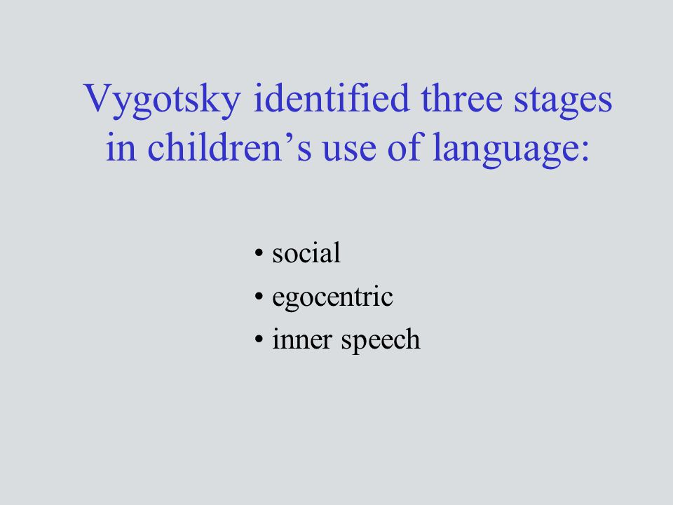 Vygotsky identified three stages in children's use of language:
