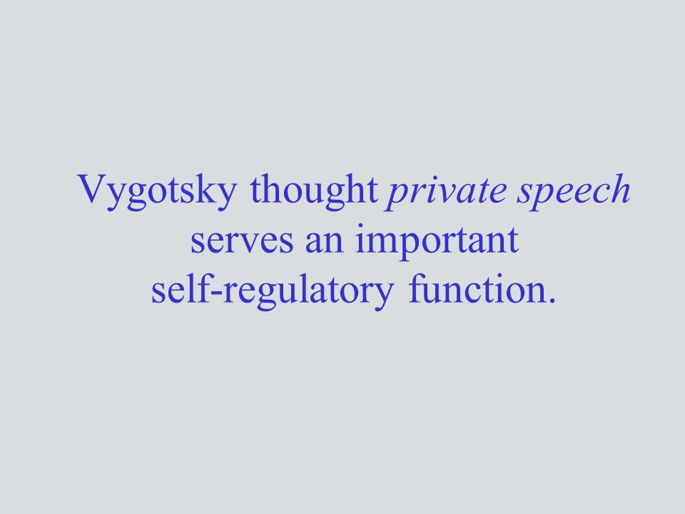 Vygotsky thought private speech serves an important self-regulatory function.