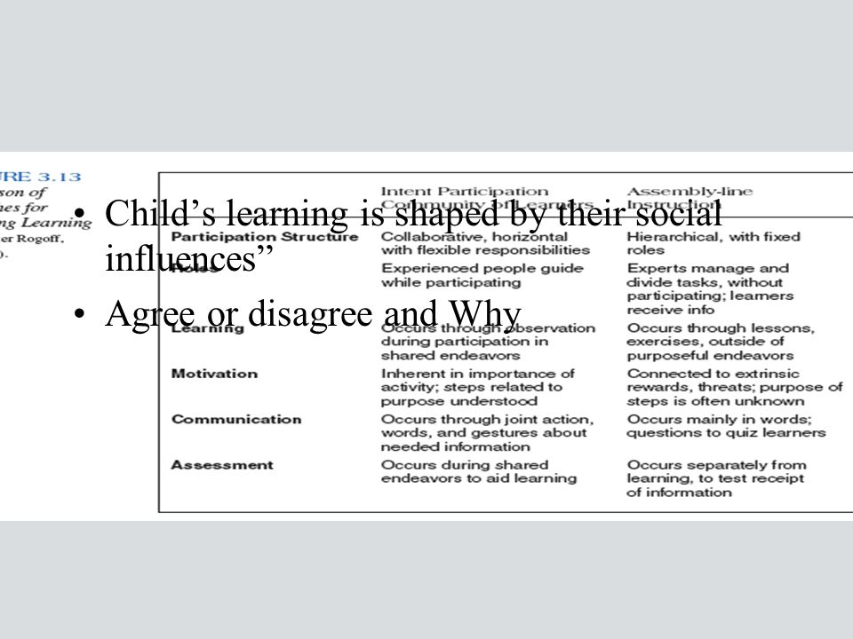 Child's learning is shaped by their social influences