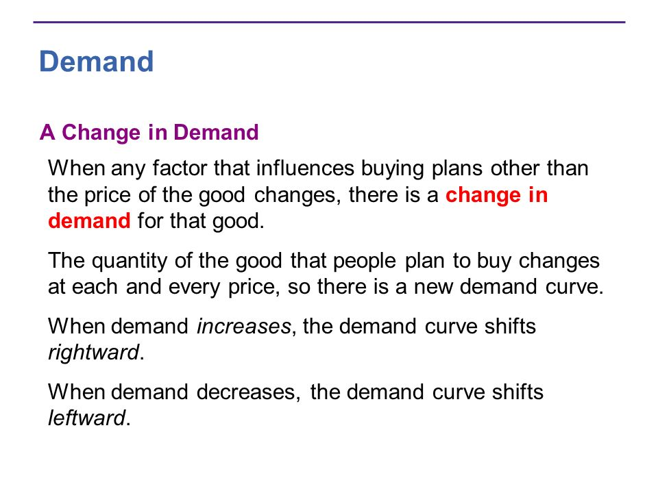 Demand A Change in Demand