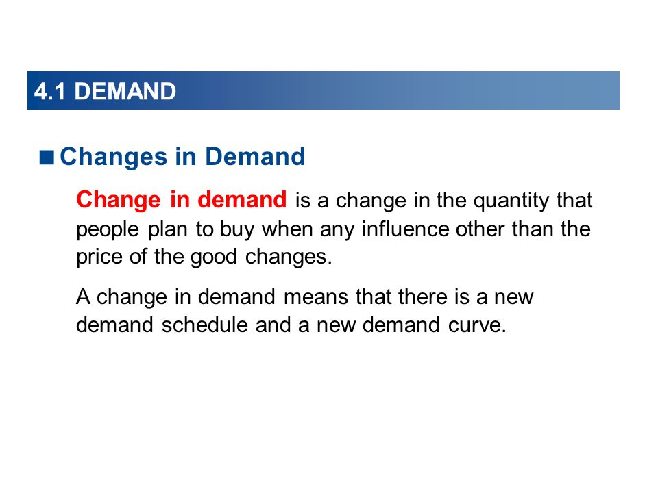 Changes in Demand 4.1 DEMAND