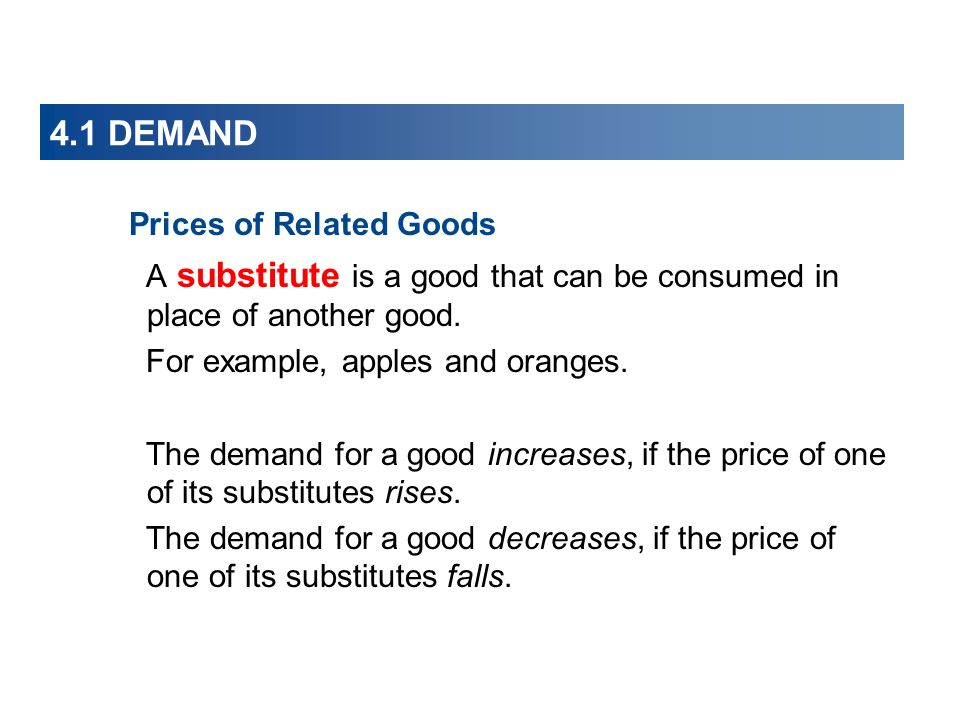 4.1 DEMAND Prices of Related Goods