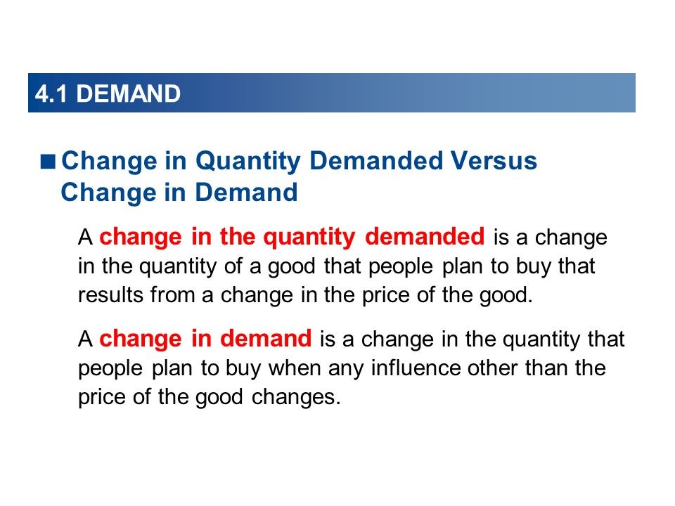 Change in Quantity Demanded Versus Change in Demand